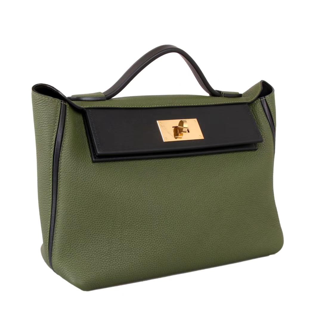 Hermès(爱马仕)Kelly2424 29金扣 丛林绿拼黑togo