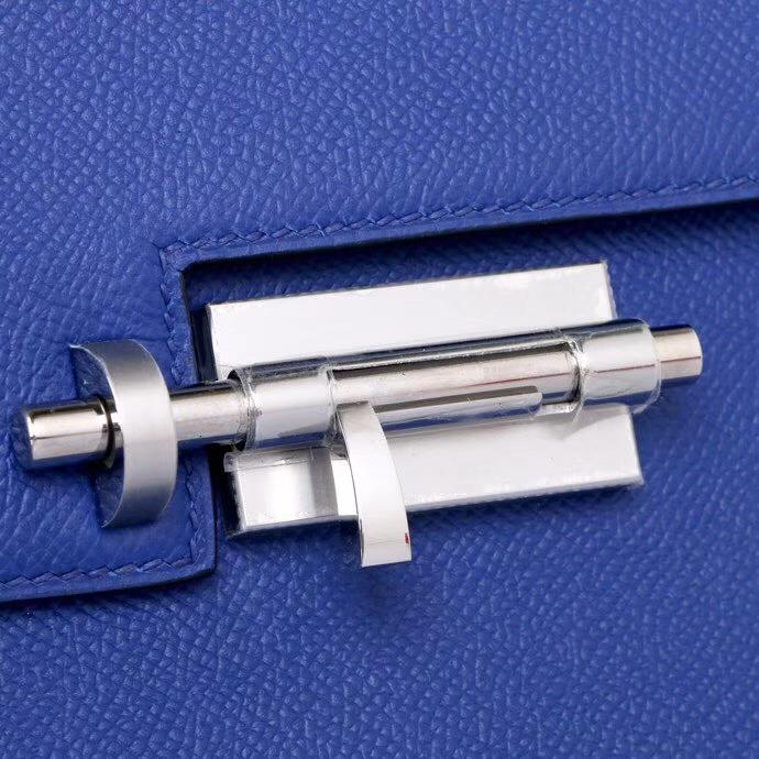 Hermès(爱马仕)Verrou锁链 21银 7T 电光蓝 epsom皮