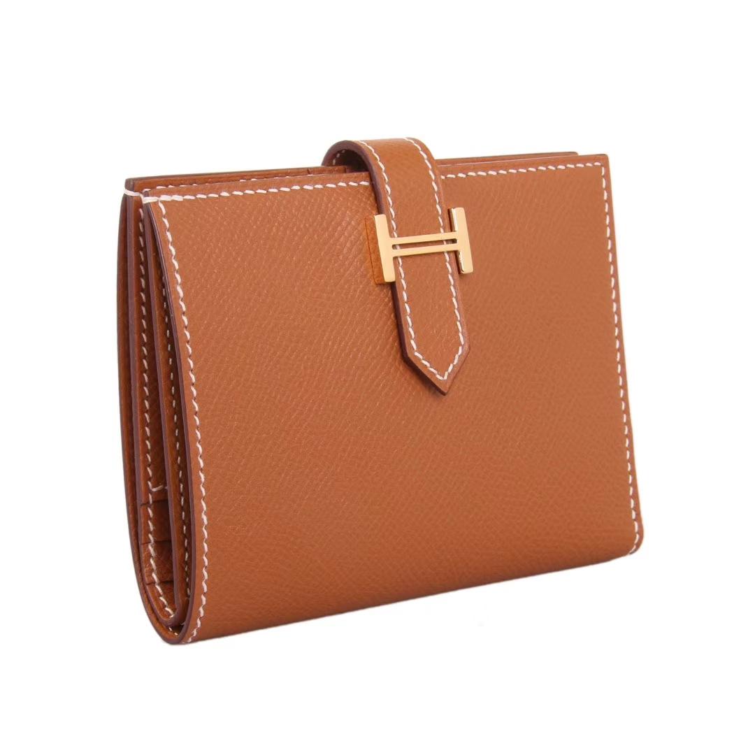 Hermès(爱马仕)Bearn 小H扣 短夹 金棕色 epsom皮