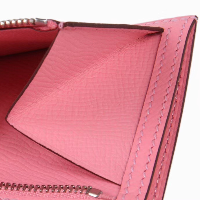 Hermès(爱马仕)Bearn 小H扣 短夹 3Q水粉色 epsom皮