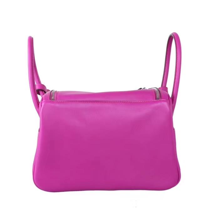Hermès(爱马仕)2019新款 lindy琳迪包 L3玫瑰紫 swift皮 编织肩带 银扣 26cm