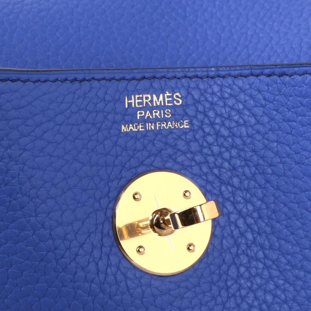 Hermès(爱马仕) lindy琳迪包 明亮蓝 togo swift皮 金扣 30cm
