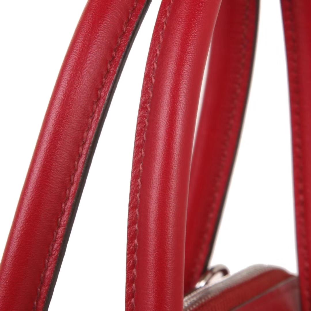 Hermès(爱马仕)Bolide保龄球包 石榴红 Swift皮 银扣