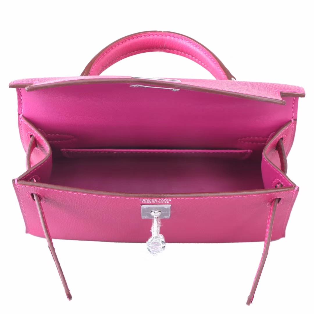 Hermès(爱马仕)Minikelly迷你凯莉包包 玫瑰紫 Epsom皮 银扣 二代