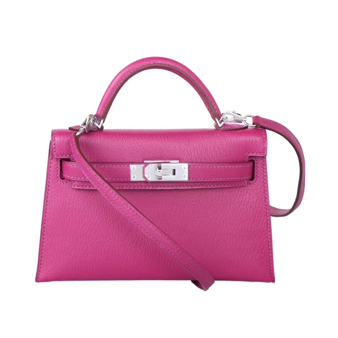 Hermès(爱马仕)Minikelly迷你凯莉包包 托斯卡紫 山羊皮 银扣 二代