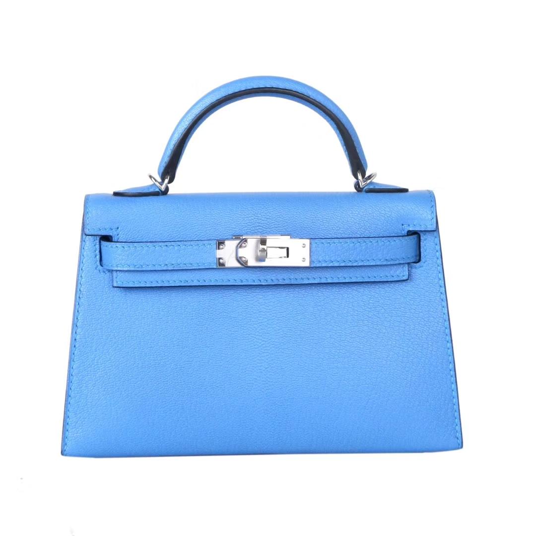 Hermès(爱马仕)Minikelly迷你凯莉包包 天堂蓝 山羊皮 银扣 二代