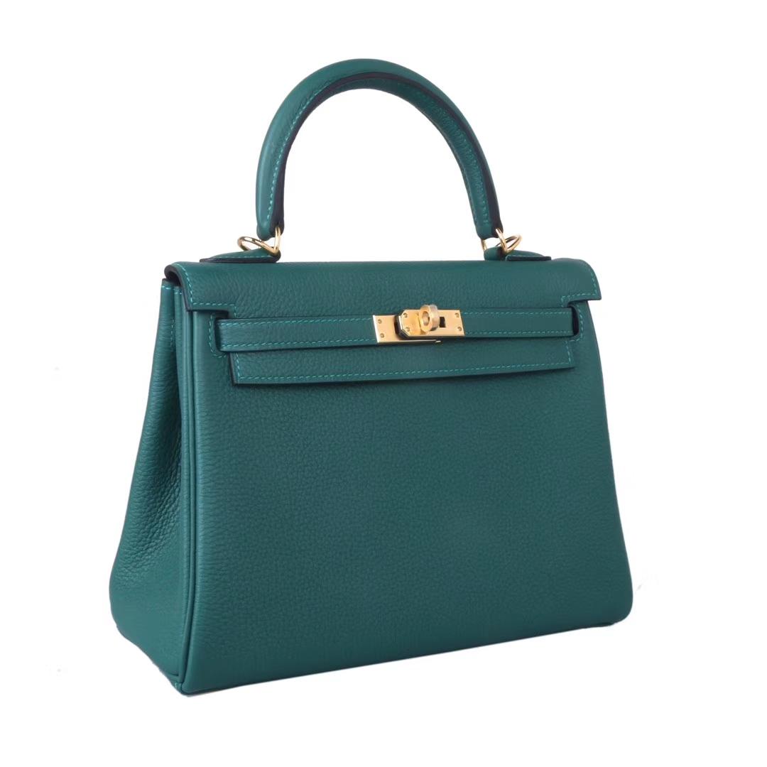 Hermès(爱马仕)Kelly凯莉包 孔雀绿 Togo 原版小牛皮 金扣 28cm