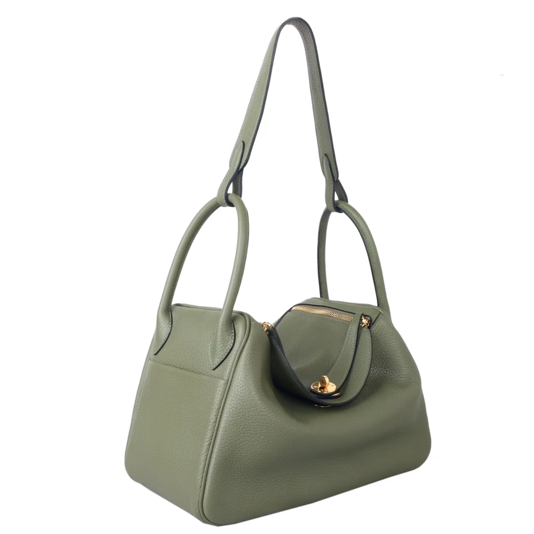 Hermès(爱马仕)lindy琳迪包 丛林绿 Togo 金扣 30cm 现货