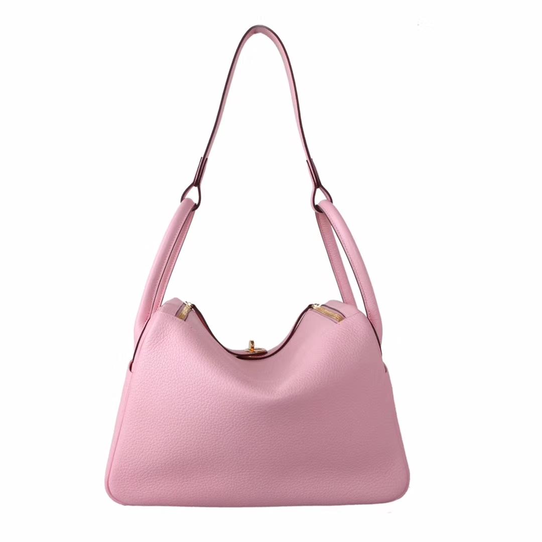 Hermès(爱马仕)lindy琳迪包 水粉色 Togo 金扣 30cm