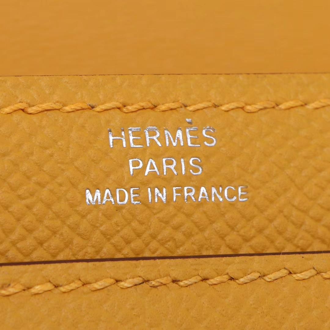 Hermès(爱马仕)Verrou锁链插销包 琥珀黄 原厂御用Epsom皮 银扣 17cm