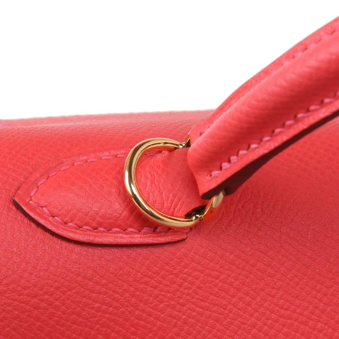 Hermès(爱马仕)Kelly凯莉包 西瓜红 原厂御用Epsom皮 金扣 28cm