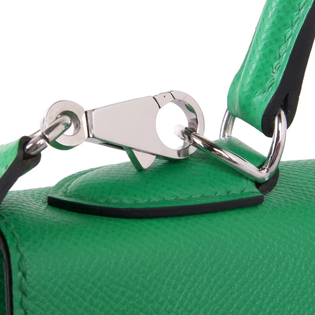 Hermès(爱马仕)Kelly凯莉包 竹子绿 原厂御用Epsom皮 银扣 28cm
