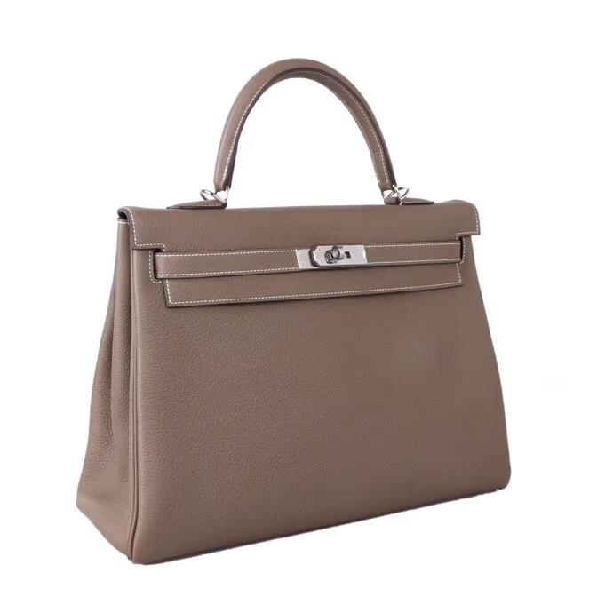 Hermès(爱马仕)Kelly凯莉包 CK18大象灰 togo 银扣 35cm