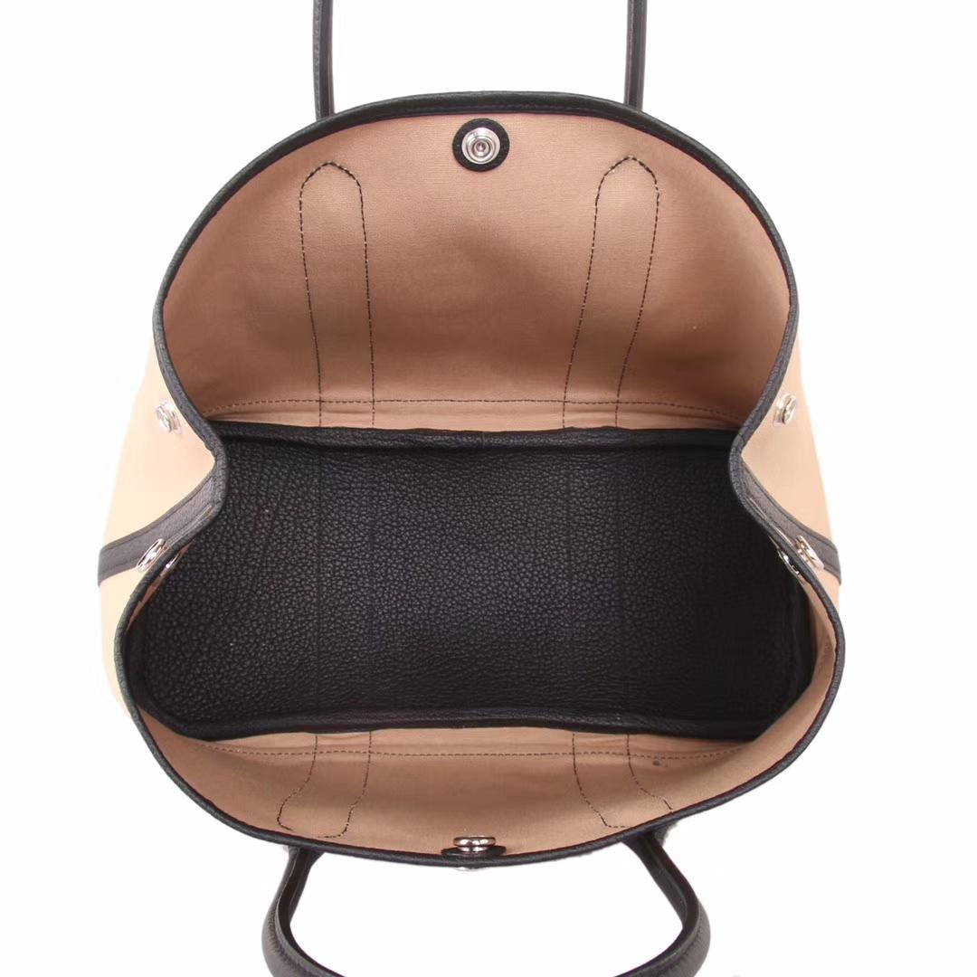 Hermès(爱马仕)garden party花园包 黑色拼素色帆布 togo 30CM