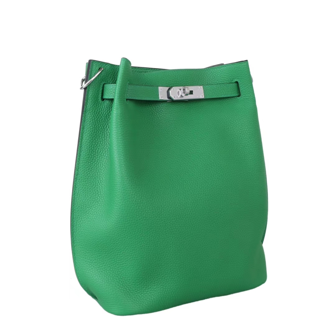 Hermès(爱马仕)soKelly凯莉包 1k竹子绿 togo 银扣 22cm