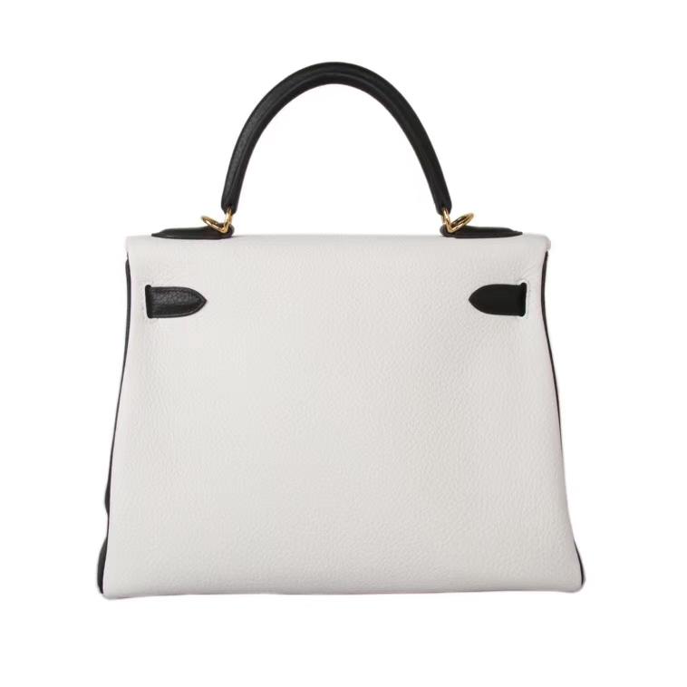 Hermès(爱马仕)Kelly凯莉包 白色拼黑色 togo 外缝epsom 接受定制