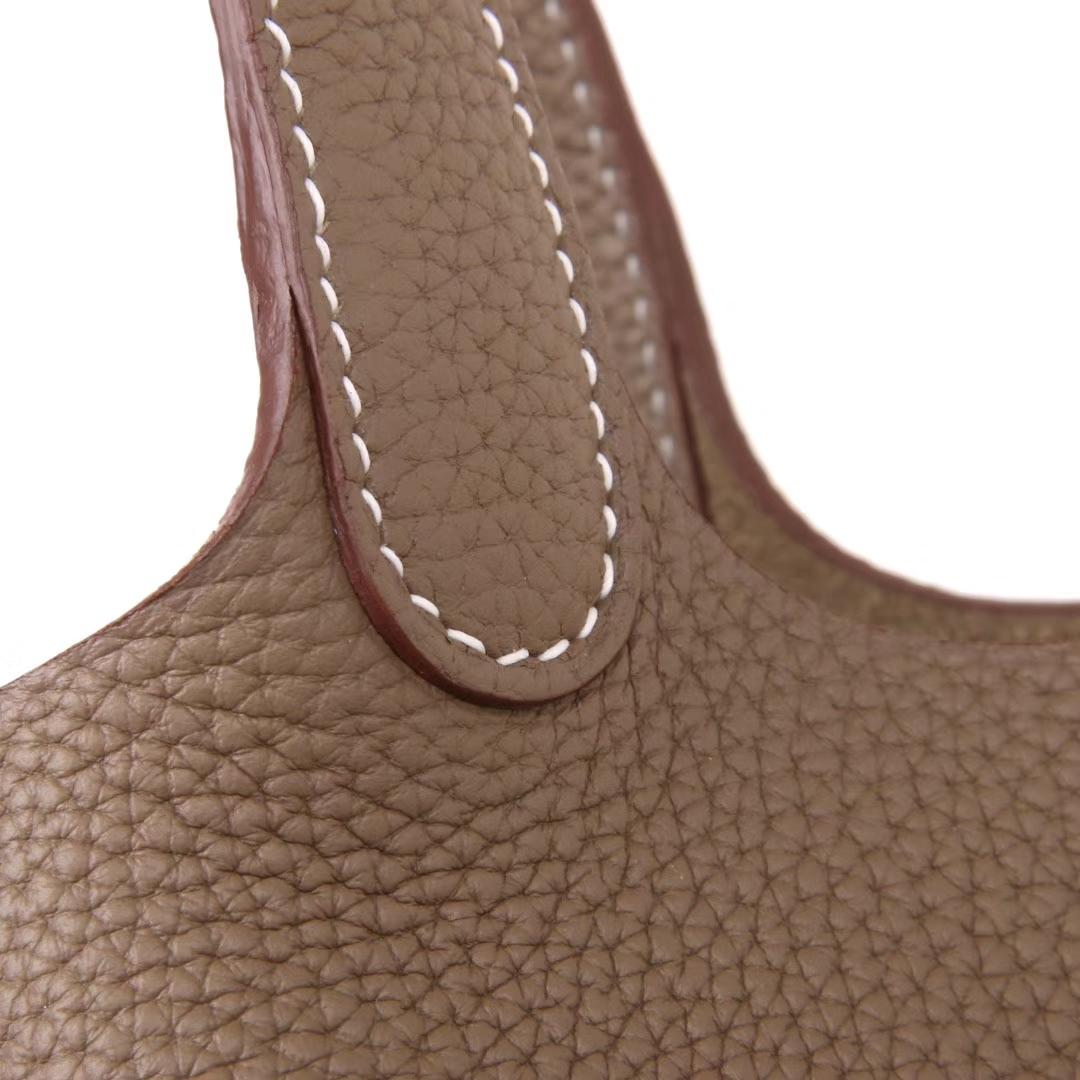 Hermès(爱马仕)Picotin菜篮子 大象灰 Togo 银扣 18cm
