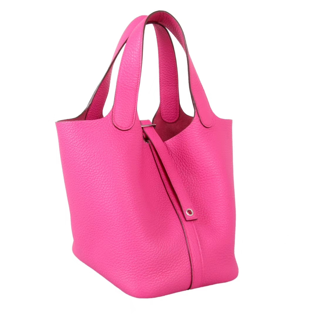 Hermès(爱马仕)Picotin菜篮子 玫瑰紫 Togo 银扣 22cm