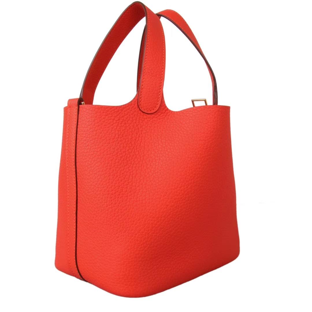 Hermès(爱马仕)Picotin菜篮子 红橙色 Togo 金扣 22cm
