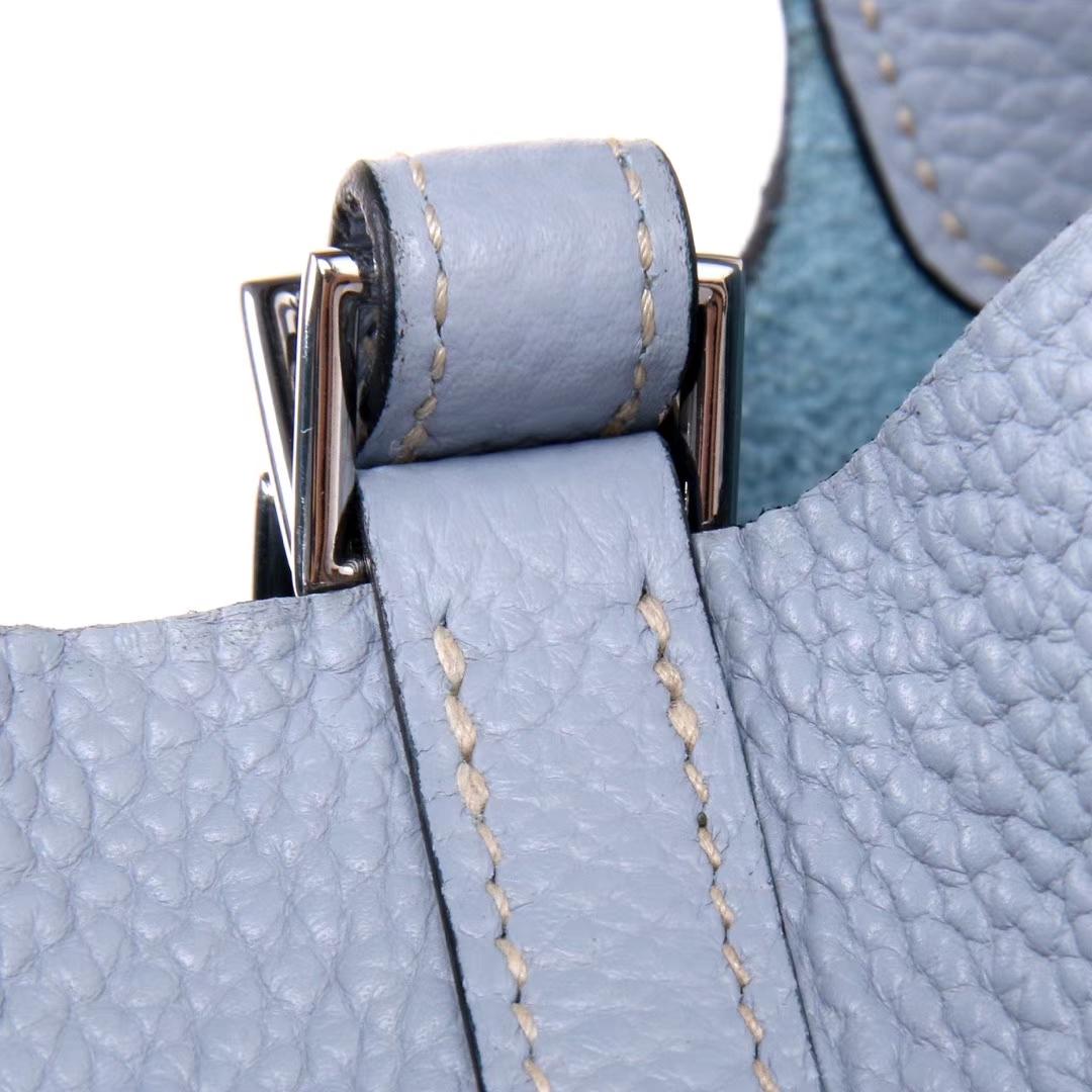 Hermès(爱马仕)Picotin菜篮子 亚麻蓝 Togo 银扣 22cm