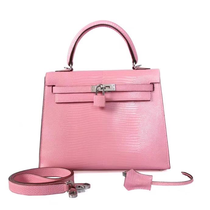 Hermès(爱马仕)Kelly凯莉包 樱花粉 蜥蜴皮 银扣 25cm