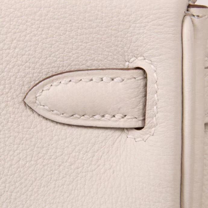 Hermès(爱马仕)Kelly凯莉包 奶昔白内拼奶昔粉 银扣 25cm