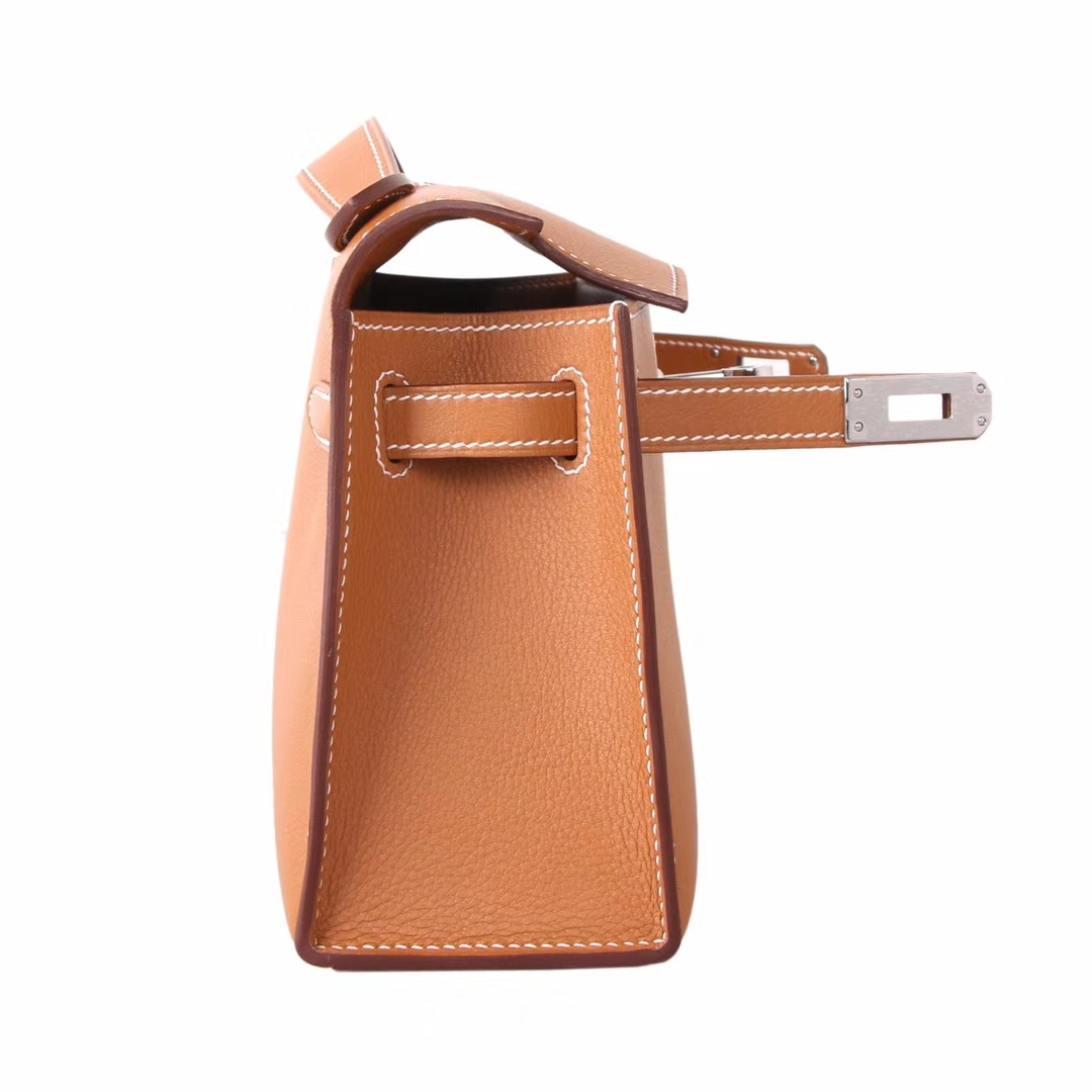 Hermès(爱马仕)minikelly迷你凯莉 金棕色 原厂swift皮 金扣 一代 22cm
