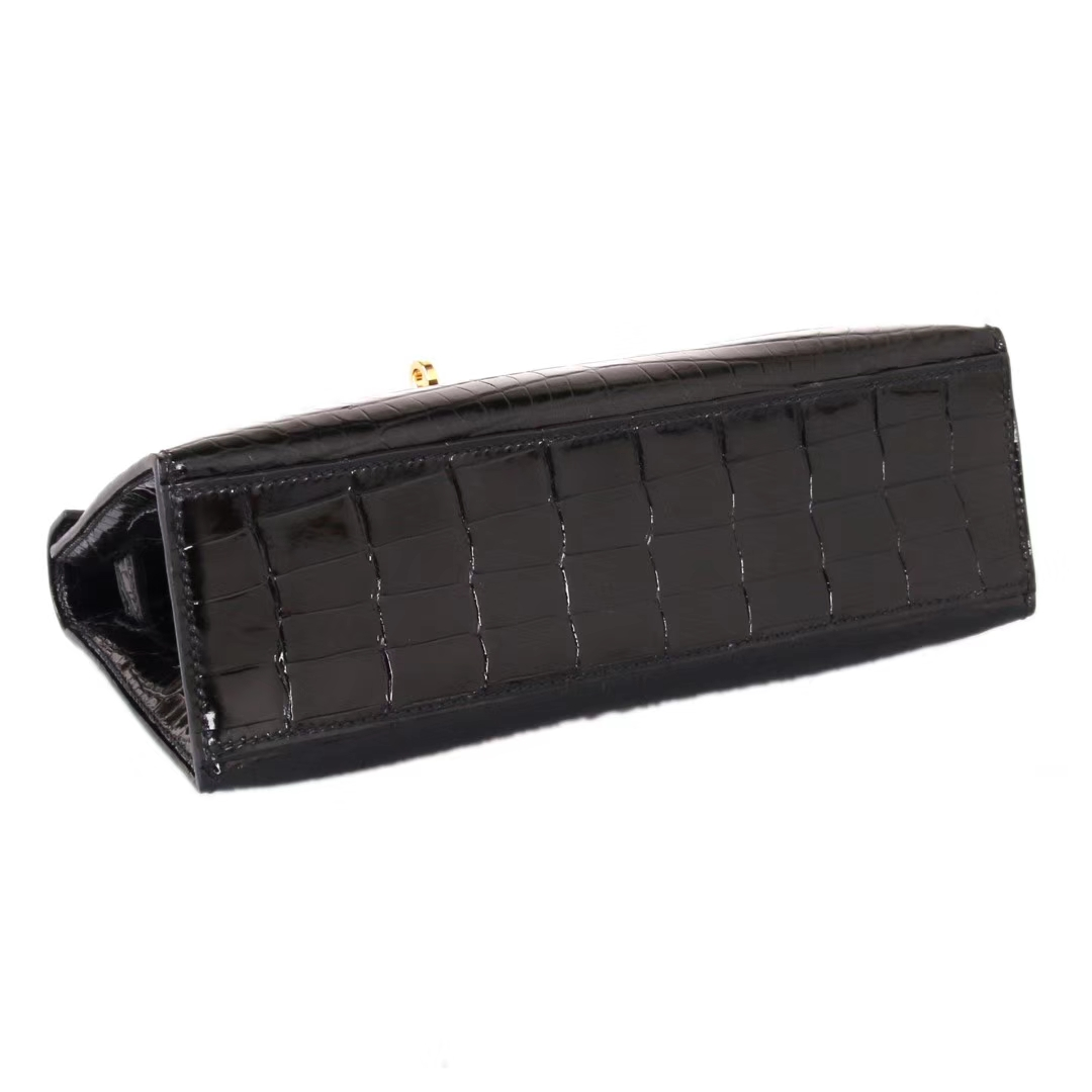 Hermès(爱马仕)minikelly迷你凯莉 黑色 亮面鳄鱼 金扣 一代 22cm