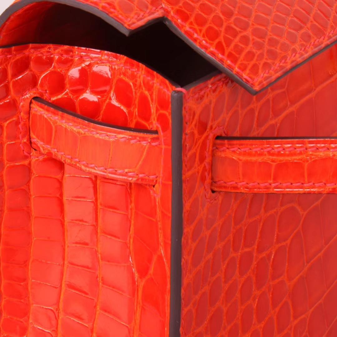 Hermès(爱马仕)minikelly迷你凯莉  火焰橙 亮面鳄鱼 金扣 一代 22cm