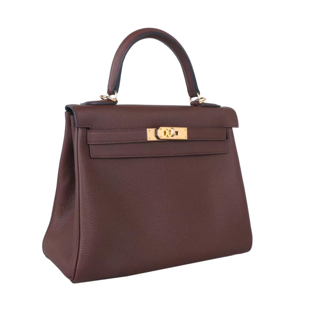 Hermès(爱马仕)Kelly  金扣  焦糖色  Togo 28cm