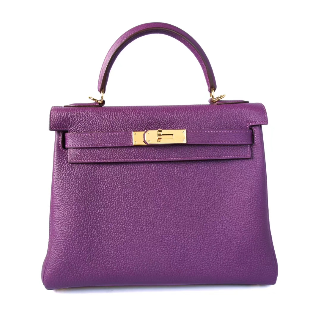 Hermès(爱马仕)Kelly凯莉包 海葵紫 Togo 金扣 28cm