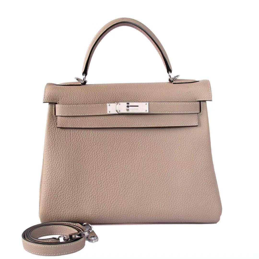 Hermès(爱马仕)Kelly 斑鸠灰 Togo 银扣 28cm