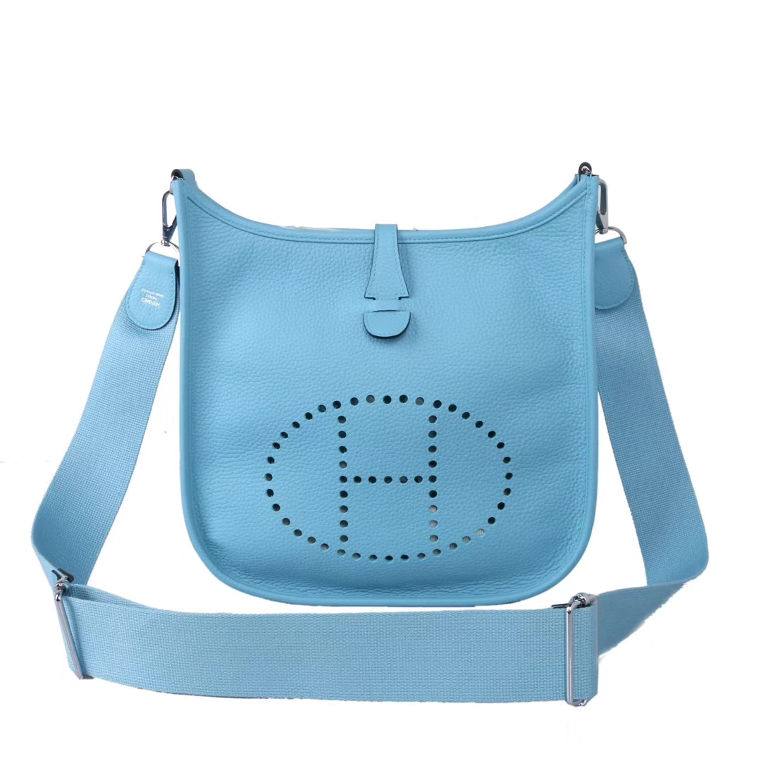 Hermès(爱马仕)evelyne伊芙琳包 P3北方蓝 togo 银扣 29cm