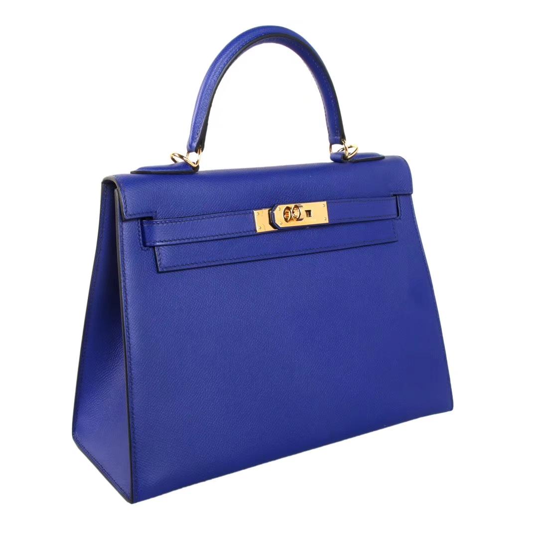 Hermès(爱马仕)Kelly 凯莉包 电光蓝 原厂御用顶级Epsom 皮 金扣 28cm