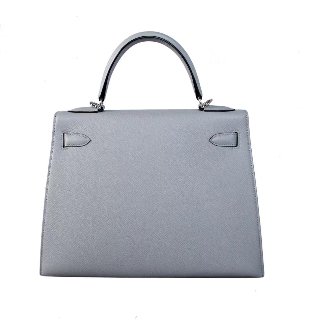 Hermès(爱马仕)Kelly 凯莉包 冰川灰 原厂御用顶级Epsom 皮 银扣 28cm