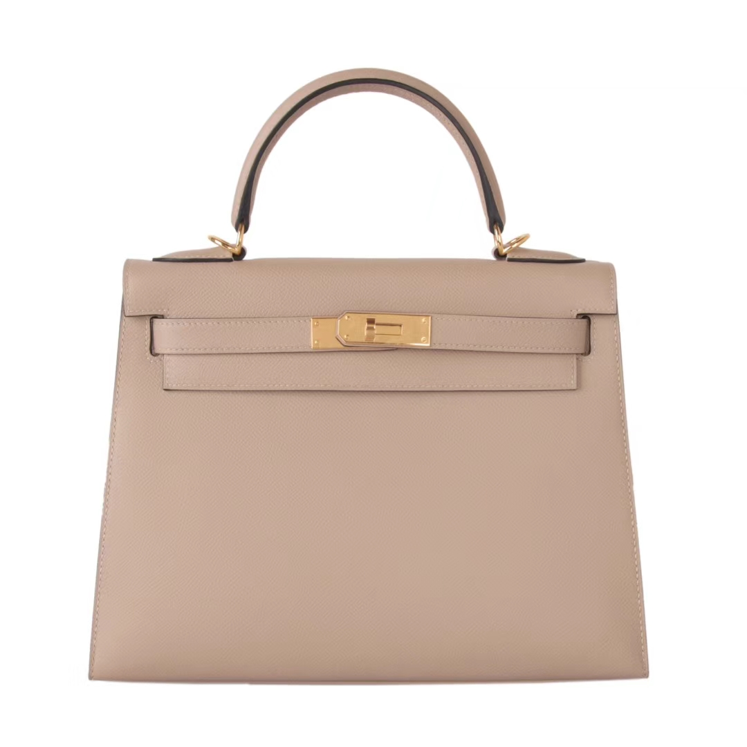 Hermès(爱马仕)Kelly 凯莉包 风衣灰 原厂御用顶级Epsom 皮 金扣 28cm