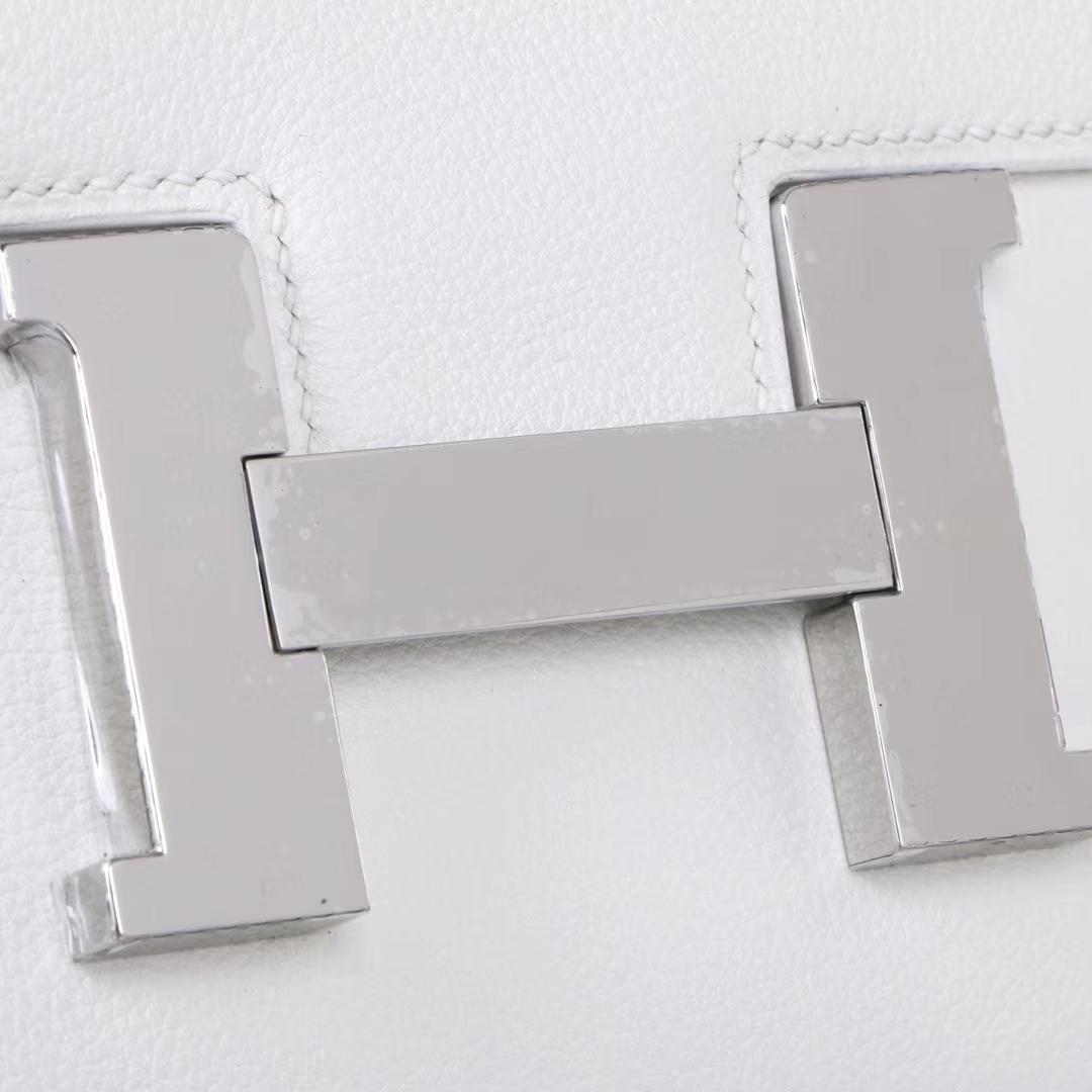 Hermès(爱马仕)Constance 空姐包 纯白 evercolor 银扣 24cm