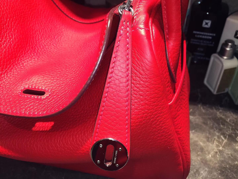 Hermès(爱马仕)Lindy琳迪包 朱砂红 银扣 Togo 原版Swift皮 26cm