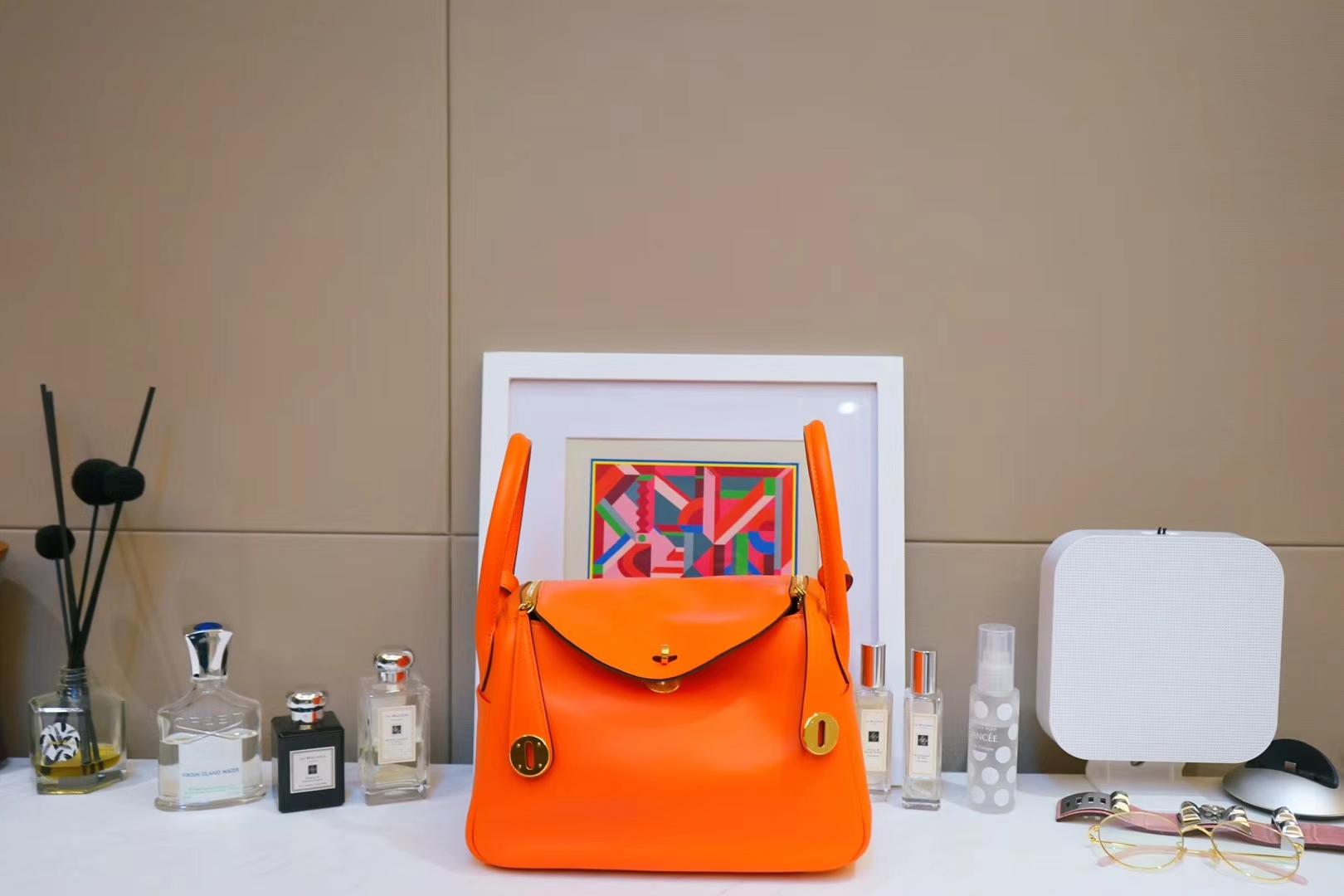 Hermès(爱马仕)Lindy琳迪包 橙色 金扣 原版Swift皮 26cm