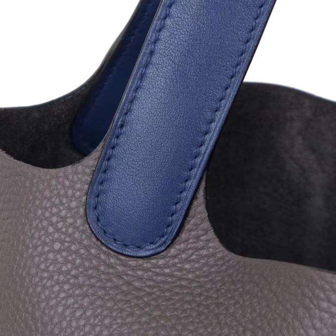 Hermès(爱马仕)Picotin菜篮子手袋 锡器灰拼玛瑙蓝 taurillon clemence 银扣 18cm