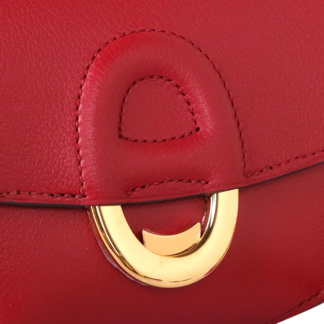 Hermès(爱马仕)Cherche-MIDI挎包 石榴红 原厂EPSOM皮 银扣 18CM