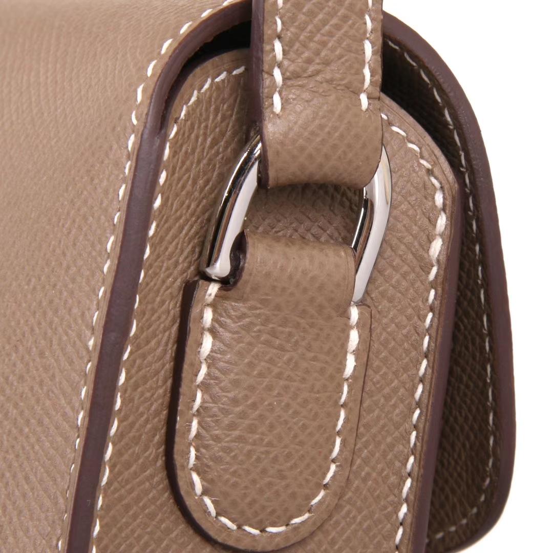 Hermès(爱马仕)Cherche-MIDI挎包 大象灰 原厂EPSOM皮 银扣 18CM