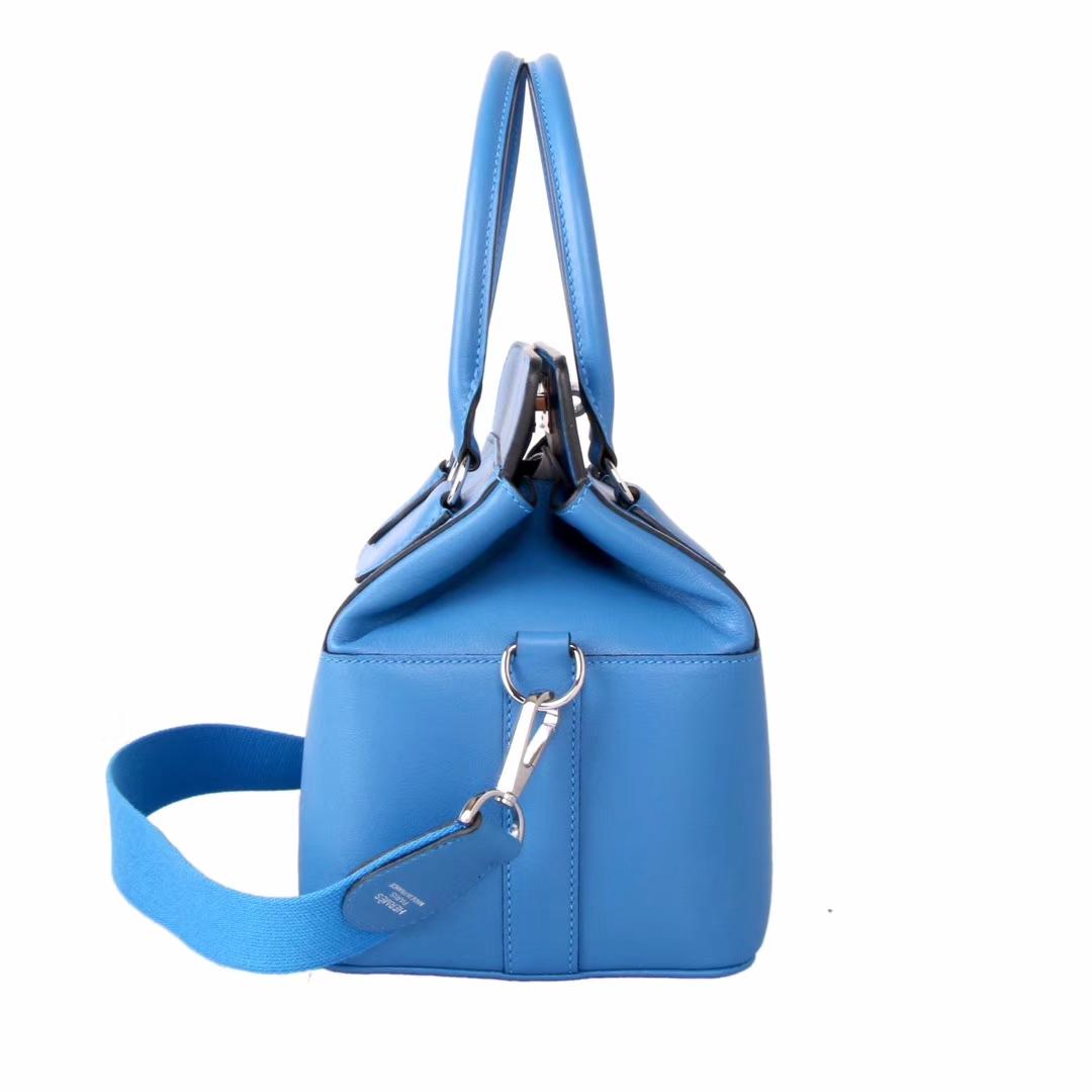 Hermès(爱马仕)Toolbox牛奶盒 水妖蓝 原厂御用顶级Swift 皮 20cm