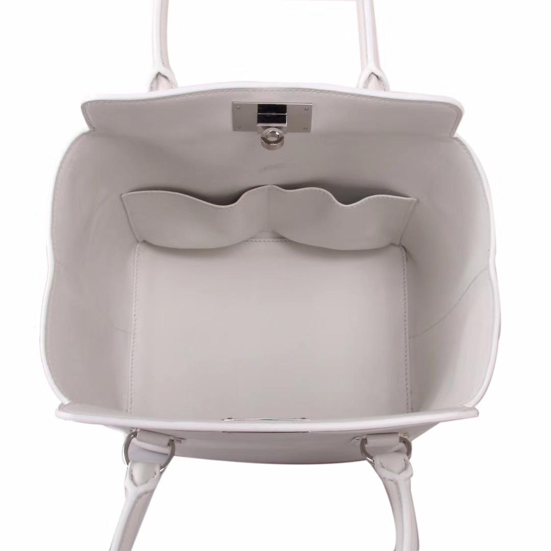 Hermès(爱马仕)Toolbox牛奶盒 纯白色 原厂御用顶级Swift 皮 20cm
