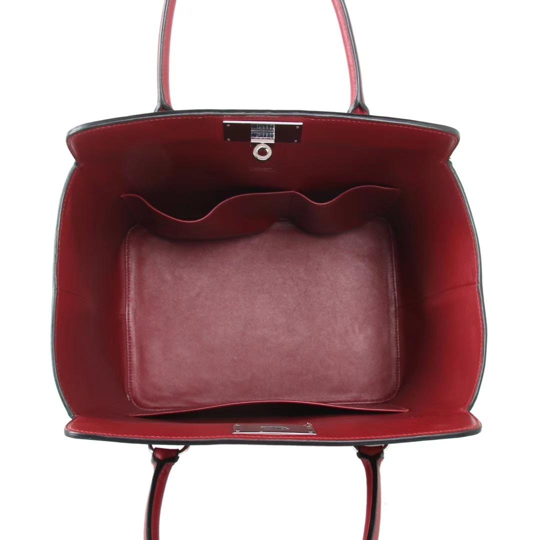 Hermès(爱马仕)Toolbox牛奶盒 石榴红 原厂御用顶级Swift 皮 26cm