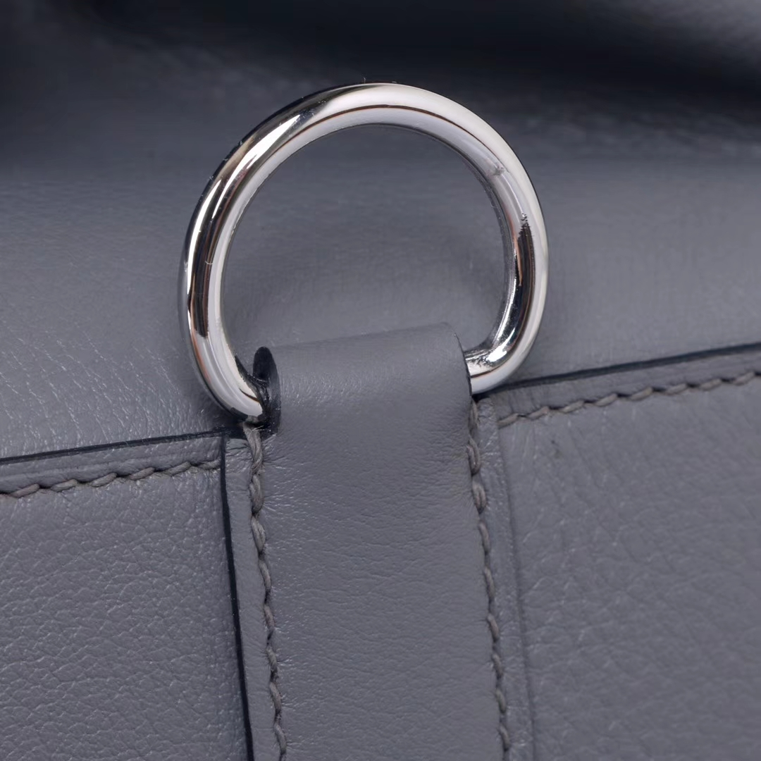 Hermès(爱马仕)Toolbox牛奶盒 锡器灰 原厂御用顶级Swift 皮 26cm