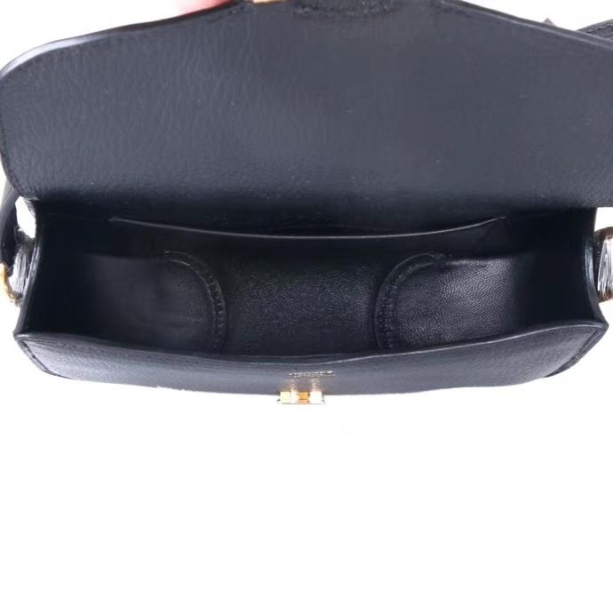 Hermès(爱马仕)Cherche-MIDI挎包 黑色 原厂山羊皮 金扣 18CM