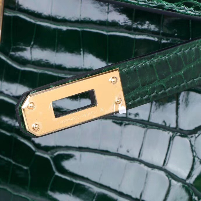 Hermès(爱马仕)minikelly迷你凯莉 6H祖母绿 亮面鳄鱼 金扣 22cm