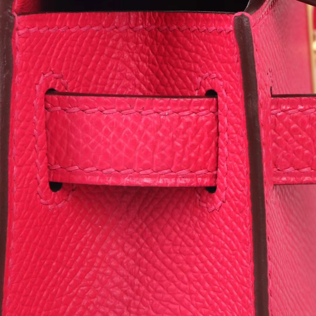 Hermès(爱马仕)Minikelly迷你凯莉 极度粉 原厂Epsom皮 金扣 2代