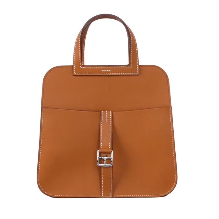 Hermès(爱马仕)halzan手提包 驼色 马鞍皮 30cm
